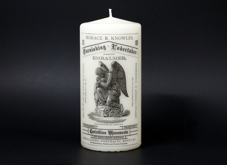 Portals candle by Burke & Hare, sold during the 2015 Portals exhibition at Providence Public Library