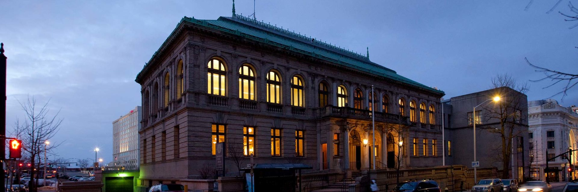 Providence Public Library Washington Street facade at night