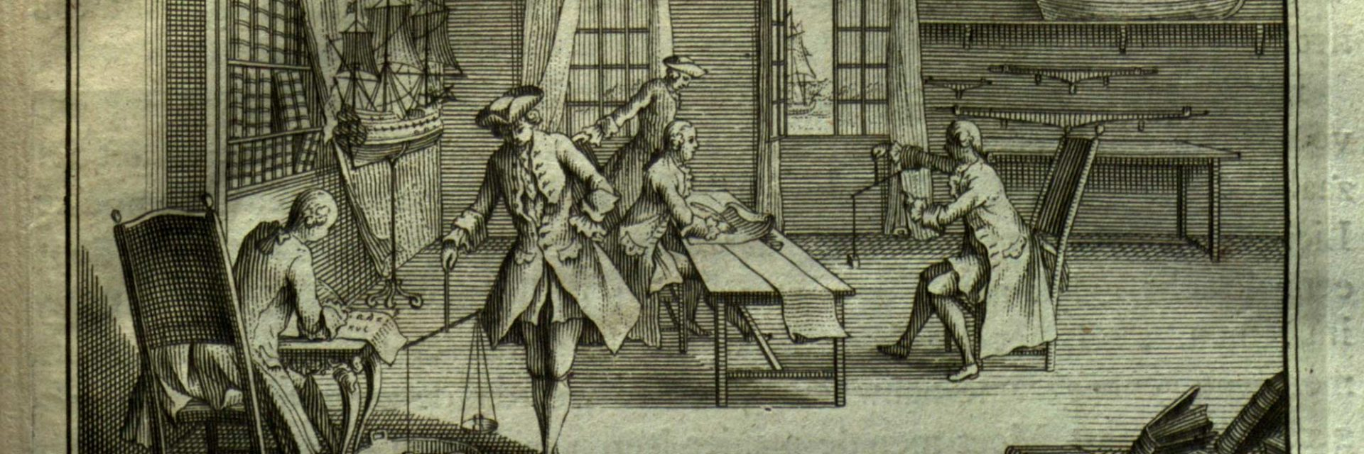 Etching depicting men working in a ship building workshop - from Providence Public Library Special Collections