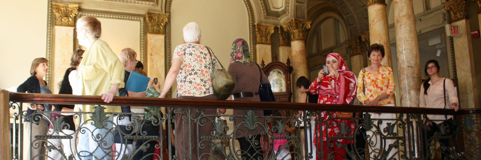Visitors gather on our Grand Staircase balcony