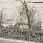 This broad view of the Metcalfs' estate shows some of the numerous outbuildings, which included a barn, chauffeur's cottage, garage, playhouse, stable, and caretaker's house. The stone wall in the foreground remains, although it is no longer topped by formidable chicken wire. ~ Date: c. 1925-1949