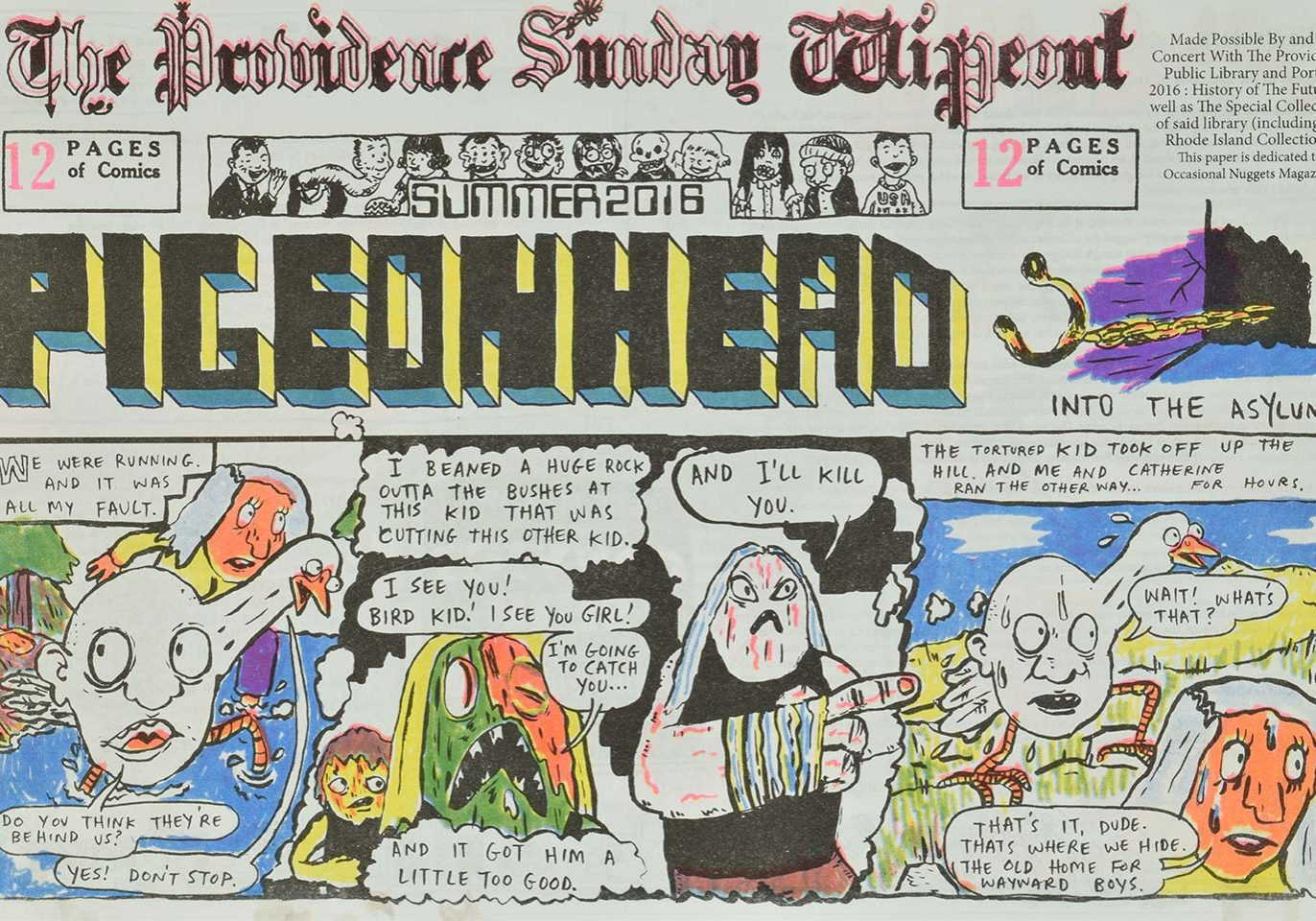 The front cover of The Providence Sunday Wipeout Comics Newspaper, produced by Walker Mettling as pat of his creative fellowship