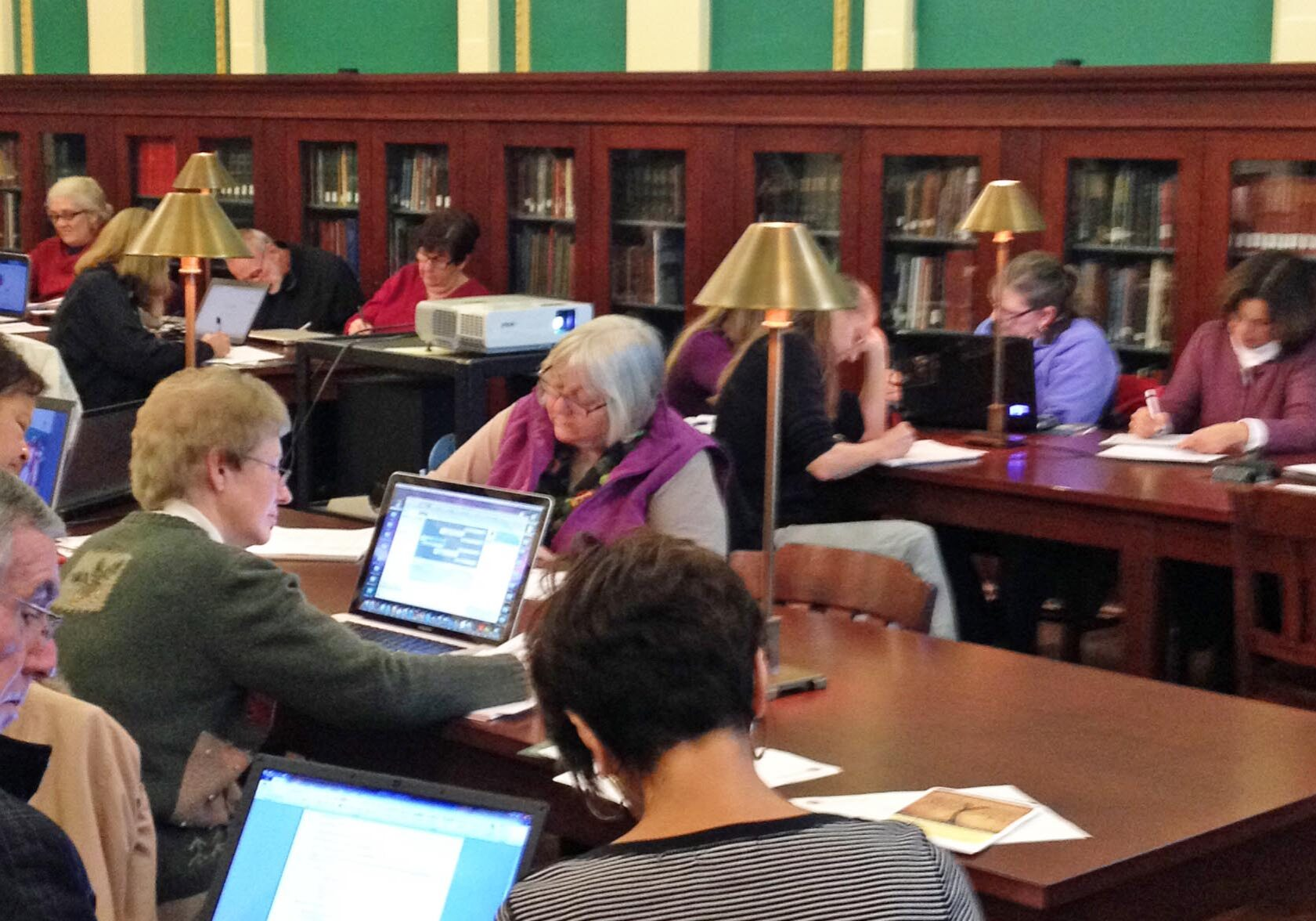 Library visitors work in PPL's Rhode Island Room.