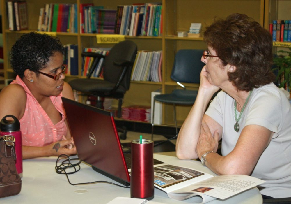 Adults receive one-on-one help in the Learning Lounge